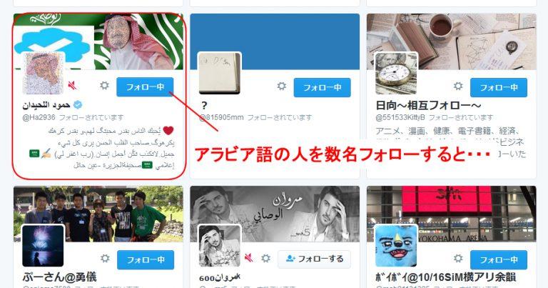 Twitterの恐怖 アラビア語のフォロワー達