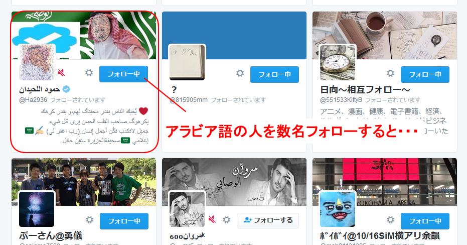 Twitter、アラビア語のユーザーをフォローすると・・・